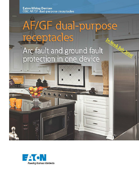 Dual Purpose Arc Fault Ground Fault Receptacle from Eaton Wiring ...